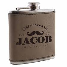 custom engraved leather flask groomsmen wedding bachelor party gift for him