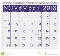 November Through November Calendars 2018 Calendar Month Of November With Thanksgiving Stock