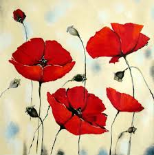 red poppy flower paintings oil paintings of pigs