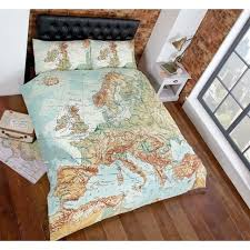 just contempo vintage map duvet cover set king green
