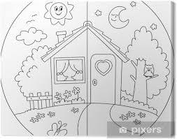 Canvas Landhuis Dag En Nacht Kleurplaat Voor Kinderen Pixers