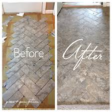 herringbone tile floor. DIY Herringbone Peel-n-Stick Tile Floor Before And After By Grace + Gumption W