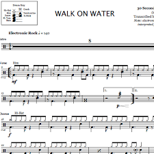walk on water 30 seconds to mars drum sheet