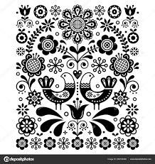 鳥と花北欧の海軍黒と白の花柄北欧かわいい民芸ベクター装飾 レトロな