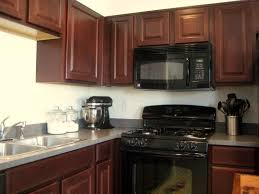 Kitchen Colors Black Appliances Traditional Light Wood Kitchen Cabinets With Black Appliances