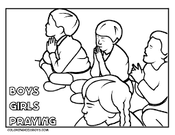 Children Praying Coloring Page Pages Pictures