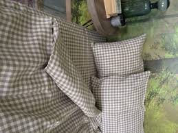 linen duvet cover in natural and white gingham