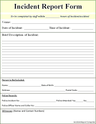 Security Incident Report Template In Medical Office Form