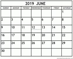 Printable Free Calendar June 2019 Printable Calendar 2019