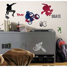 Motocross Bedroom Decor Roommates Rmk1690scs Extreme Sports Peel And Stick Wall Decals