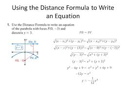 using the distance formula to write an equation