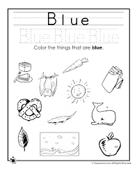 Small Picture Learning Colors Worksheets for Preschoolers Color Blue Worksheet
