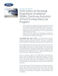 new car press release2016 cobra jet mustang drag racer unveiled at sema press release