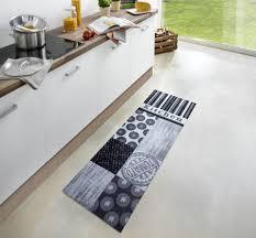 zala living cook clean grey black kitchen runner