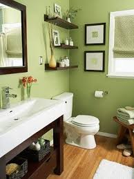 Green Bathroom - Love the sink, and dark wood with green walls. Too bad BHG  doesnt bother to give any information. - Home Decor - meadoria