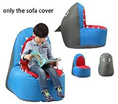 cartoon sofa chair. Quwei Children Cartoon Shark Leisure Creative Comfortable Chair Backseat Bean Bags Sofa Sets (blue)