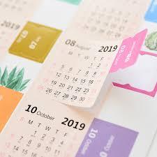 Monthly Calendar Notebook 2019 Monthly Calendar Notebook Cute Diary Stickers Diy Decorative Index Label Stickers Flower Cartoon Scrapbooking Set