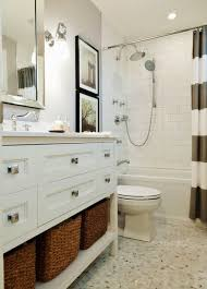 Fun Bright White And Gray Bathroom With West Elm Stripe