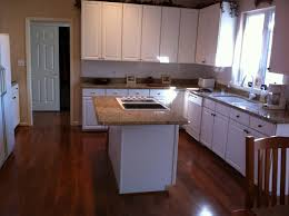 Floor White Kitchen Cabinets Yellow Walls White Dark Wood Floors