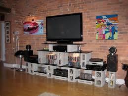 cinderblock furniture. Plain Furniture White Cinder Block Entertainment Center With Black Shelves Also Cement TV  Stand On Beige Wooden Floor Brick Wall To Cinderblock Furniture
