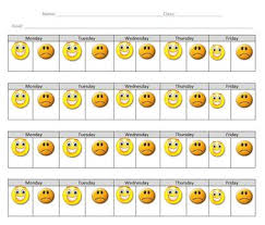 Happy Face Sad Face Student Behavior Tracking Chart