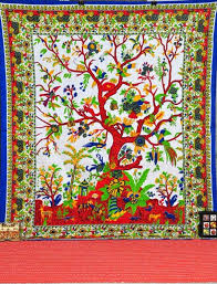 life tapestry wall hanging white tree