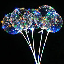 String Light Balloon Sunky 5pcs Led Light Up Bobo Balloons Latex Clear Transparent Round Bubble Colorful Flash String Decorations Wedding Room Courtyard Kids Birthday