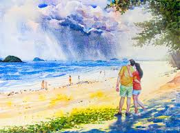 painting colorful of men and women with rain clouds stock ilration ilration