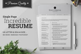 Incredible Single Page Resume Resume Templates Creative Market