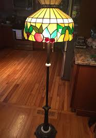 stained glass shade floor lamp cast iron stand marble build in 1900 1940 3 bulbs
