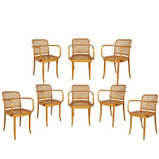 set of eight josef hoffmann prague bentwood dining chairs imported by stendig