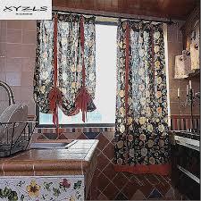 decorative half curtain rods new xyzls american style kitchen short curtains fl printed roman