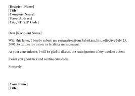 business letter official letter of resignation sample for your employer