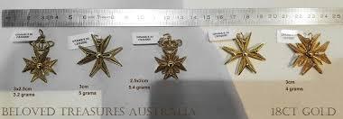 18ct 18kt gold filigree maltese cross heraldic crown