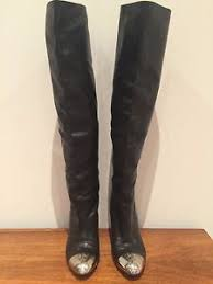 chanel over the knee boots. chanel gorg black leather over the knee metal cap toe boots cc logo 38 us 7 chanel i