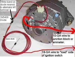 three wire delco 10si 12si alternator question hot rod forum and a picture of the wiring using a 1n5408 diode and not using the voltage sensing circut