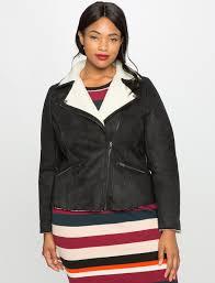 faux suede shearling moto jacket