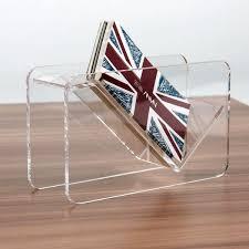 fashion acrylic display stand plastic desktop business card holder desk shelf box two layerscard holder card
