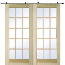 mmi door 72 in x 80 in poplar 15 lite double door with