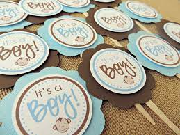 monkey baby shower cupcake toppers