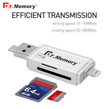 dr memory 3 in 1 memory card reader for lightning micro usb 2 0 apple iphone 6iphone