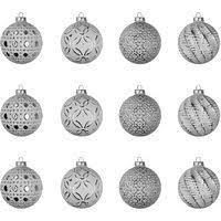 Set Weihnachtskugeln 12 Stück ø6cm 4 Sorten Mit Muster Glas Weißsilber Christbaumschmuck Baumschmuck Christbaumkugeln Weihnachtsbaumkugeln