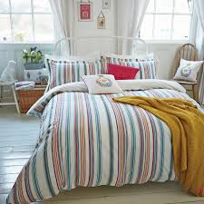 multi coloured striped duvet cover duvet cover on fastening bath stripe bedding by joules