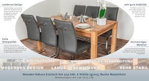 Wooden Nature Esstisch Set 324 Inkl 6 Stühle Grau Buche