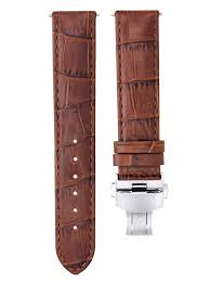 24mm replacement leather watch strap band deployment clasp for montblanc l brown