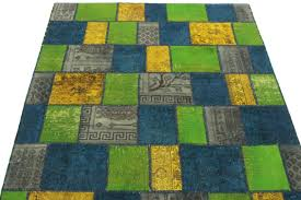 patchwork rug green yellow blue in 200x150 4 6