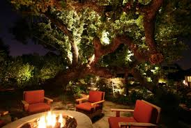 view in gallery illuminated oak tree by an outdoor fire pit