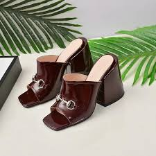 2019 womens luxury designer high heel slippers summer brown black leather slides fashion sandals women mid heels dress slipper with box boots cowboy