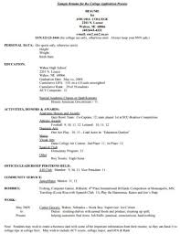 Free 4 College Application Resume Examples Templates