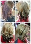 Dark brown hair on top with blonde underneath